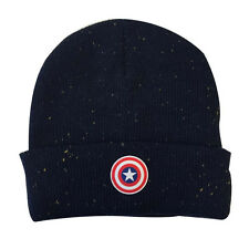 OFFICIAL MARVEL COMICS CAPTAIN AMERICA RUBBER SHIELD SYMBOL BEANIE HAT (NEW)
