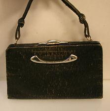 Vintage Tasche, antike Handtasche, Abendtasche, Leder schwarz, Original um 1930