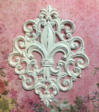 Fleur de lis  Very Ornate Cast Iron Shabby Chic Wall Decor Off White