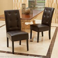 set of 2 dining room furniture tufted brown leather dining chairs - Leather Dining Room Chairs