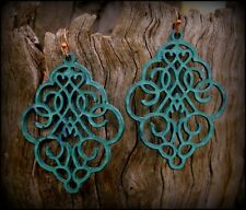 VINTAGE BOHO FILIGREE CLOUD PATINA DANGLE DROP EARRINGS - Dangle Thick Mesh