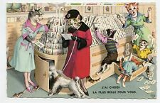 Style ALFRED MAINZER . Chats humanisés. Dressed cats. Chien caniche . Poodle