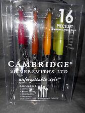 17pc CAMBRIDGE Silversmiths Spectrum Bakelite 70's Retro Flatware & Rack