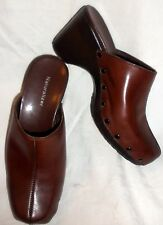 VG Brown Leather Naturalizer Slip On Clogs Women Sz 7.5 W