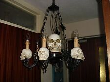 skull mounted GOTHIC 6 arm chandelier