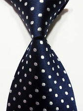 New Classic Blue White Polka Dot Jacquard Woven Silk Men's Tie Necktie