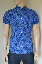 NEW Abercrombie & Fitch Classic Floral Print Short Sleeve Shirt Blue M RRP £68