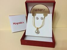MAJORICA Gold Plated Sterling Silver White Lustrous Pearl Earrings Necklace Set