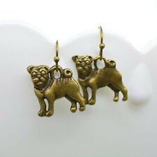 Pug Dog Earrings, Antique Bronze Finish Vintage Style Charm Pendant Earring