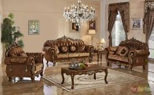 3 Pc Traditional Style Formal Living Room Furniture Brown Sofa Set Carved Frames