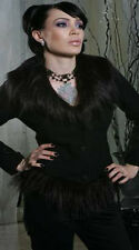 New Lip Service Blacklist Faux Fur Corset Jacket Winter Coat Jacket Goth Punk L