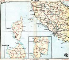 Roma Arezzo Ancona 1930 carta stradale presto orig. Perugia Siena Cagliari Rieti