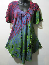 Top Fits XL 1X 2X 3X Plus Tunic Red Purple Lace Up Lace Sleeve A Shape NWT G787