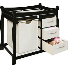 Black Changing Table with Hamper and Three Baskets