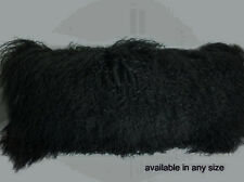 Real Black Mongolian Tibetan Lamb Fur Pillow New made in usa Tibet cushion
