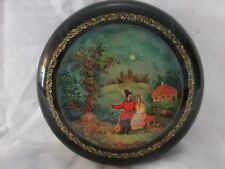Vintage Russian Hand Painted Signed LacquerTrinket Box