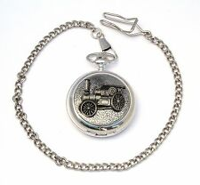 Steam Engine Design Pocket Watch Gift Boxed FREE ENGRAVING Farming Present