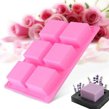 6-Cavity Plain Rectangle Soap Mold Silicone Craft DIY Making Silicone Mould Tool
