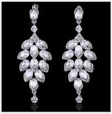 Sparkling Silver Austrian Diamante Crystal Big Drop Dangle Earring Party/Wedding