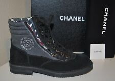 NIB $1425+ CHANEL 15C BLack Grey Canvas CC Lace Up Short Combat Zip Boots 37 - 7