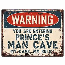 PP4146 WARNING PRINCE'S MAN CAVE Chic Sign Home man cave Decor Funny Gift