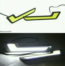 2Pcs Car Bike White L Shape Type Cob Led Smd Daytime Running Light Fog Lamp Drl