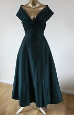 ᴥᴥVINTAGE MONSOON SZ 14 TWILIGHT DRESS GREEN SILK 50'S BALL GOWN 12 VICTORIAN