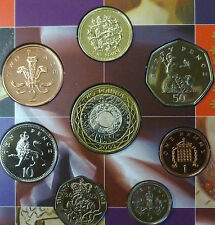 2002 Uncirculated UK coin set BU 8-coin Royal Mint pack