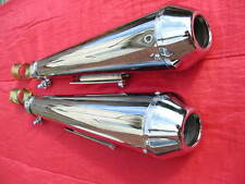 "2 UNIVERSAL chrome REVERSE CONE 17"" ""SHORTY"" MEGAPHONE SILENCERS-baffled-ONE SET"