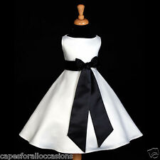 WHITE A-LINE T-LENGTH WEDDING FLOWER GIRL DRESS 12M-18M 2/3T 4/5T 6 7 8 10 12 14