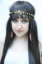 GOLD DECO STUDDED PINK JEWELLED HEADBAND HIPPY FESTIVAL INDIE FAERIE FASHION