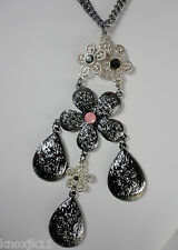 "NEW Simply Vera Wang 32"" NECKLACE Metallic Silver & BLACK RHINESTONE FLOWERS NWT"