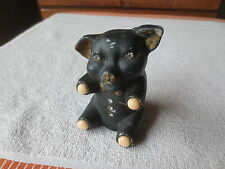Odd Aluminum Cast Piggy Bank -  Black, Garnets Marble Glass Feet
