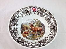 Queen's England Majestic Beauty Thanksgiving Stag Serving Bowl NWT Free US Ship