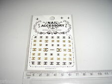3D Nail tip Art stickers transfer water decals  Glitter Bling Gold J61