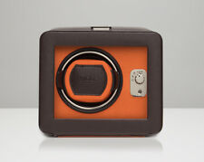 Wolf Designs 452506 Windsor Single Watch Winder Brown/Orange With Cover