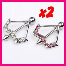 2 PIERCING TETON ARC FLECHE CRYSTAL ARROW BODY NIPPLE BAR BARBELL SHIELD RING