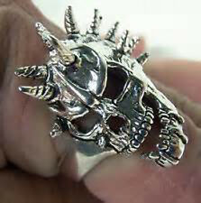 heavy SCREAMER SPIKED SKULL SILVER BIKER RING BR170 mens jewelry RINGS NEW