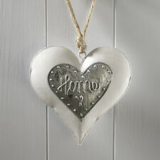 Shabby Chic White Hanging Heart from Twine A