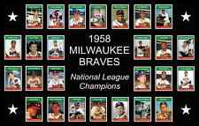 1958 Milwaukee Braves World Series Team Poster History Decor Wall Art Vtg Gift