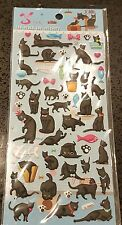 Puffy Cat Theme Sticker Sheet 3D Raised 42 Individual Stickers Craft Scrapbook