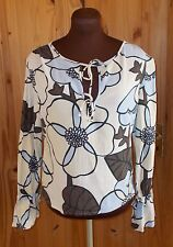 ROXY oatmeal yellow blue brown floral long sleeve kaftan tunic top 3 10-12 38-40