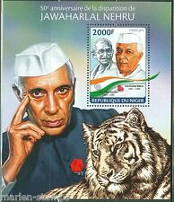 NIGER 2014 50th MEMORIAL ANNIVERSARY OF JAWAHARLAL NEHRU WITH GANDHI S/S NH