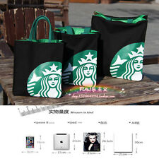 Highly Recommend New Starbucks BLACK SMALL CANVAS TOTE BAG HANDBAG Lunch Bag
