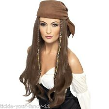 Ladies Pirates Brown Wig Beads Charms & Bandana Fancy Dress Hen Caribbean Film