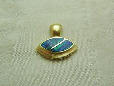 14K Gold Australian Opal Pendant Blue Green Beauty Marquise Shape N153-J