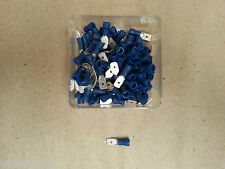 100 Pc ELECTRICAL INSULATED CRIMP BLUE MALE SPADE CONNECTOR 6.35mm 12 Volt CAR