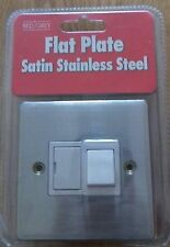 Single Fused Spur Switch 1 Gang Flat Plate Satin Brushed Stainless Steel Slim