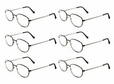 Mr. Reading Glasses [2.50] 6 Pair All Black Metal Frame Reader Wholesale +2.50