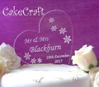 Engraved Heart snowflakes Acrylic Personalised Wedding cake topper decorations